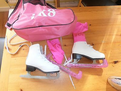 Sfr Galaxy  Girls  Size 1 Eur 33 Leather Figure Skates With Blade Guards, Socks