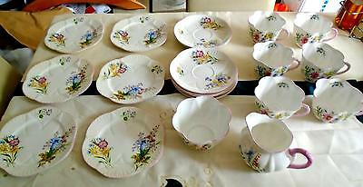 Shelley china 20pc 'Wildflowers' Afternoon tea set Dainty shape pink trim 13668