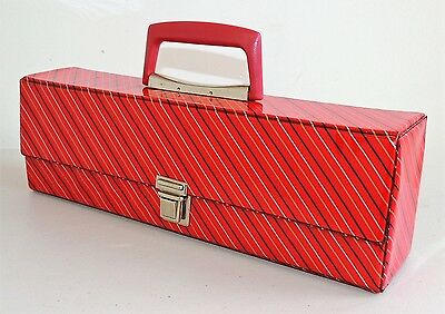 Vintage 1980's Red Vinyl Cassette Storage Case - Holds 20 Tapes