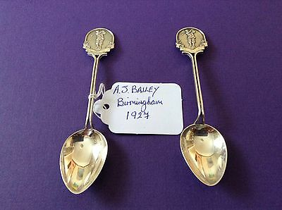 Pair Of Vintage Silver Spoon Hallmarked For Birmingham Showing Golfer