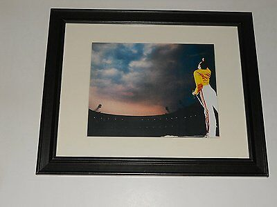 """Framed Queen Color Freddie Mercury 1986 Wembley Stadium Color On Stage 14"""" x 17"""""""