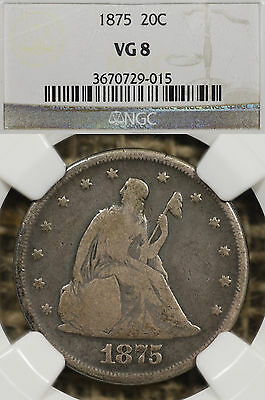 1875-P 20C NGC VG8 Twenty Cent Piece Philadelphia Mint LOW MINTAGE