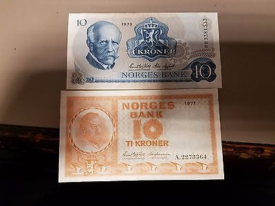 Set Of Two Different Norway 10 Kroner Very Nice  Shape!