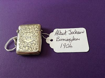 Antique Silver Vesta Case Hallmarked For Birmingham 1904