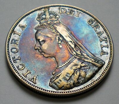 Double Florin 1887 Great Britain KM#763 Victoria Silver Coin ** XF RAINBOW TONED
