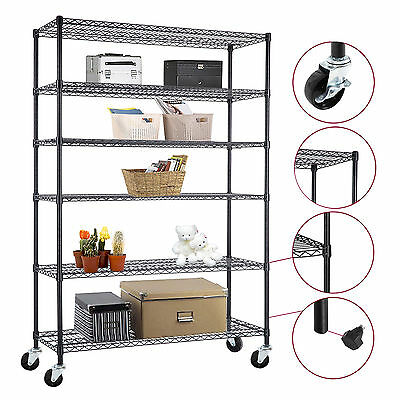 "48""*82""*18""Heavy Duty Chrome 6 Tier Steel Wire Shelving Rack Shelf Adjustable"