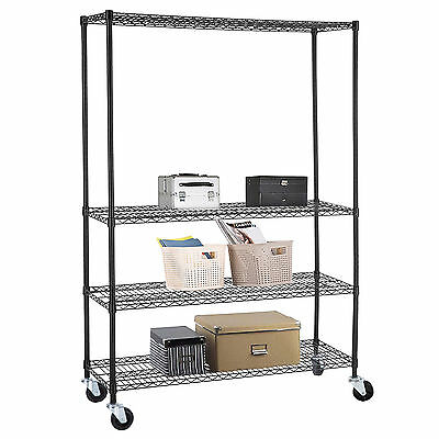 4 Tier Commercial 48''X82''X18''Wire Shelving Rack Adjustable Steel Shelf