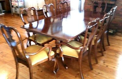Antique Dining Extension Table With 8 Chairs