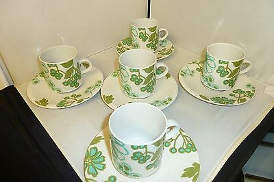 Villeroy and Boch Vintage Retro Kitsch Scarlett 5 Coffee Cups and Saucers