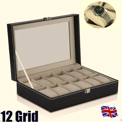 12 Grid Watch Jewelry Display Black Faux Leather Storage Bracelet Tray Case Box