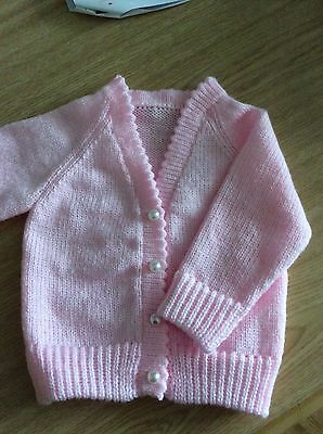 Pink knitted cardigan with pearl buttons baby girl 18in chest  3-6 mths reborn