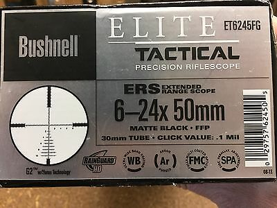 Bushnell Et6245Fg Riflescope 6-24X50 G2 Ffp, Elite Tactical. Rrp $1510