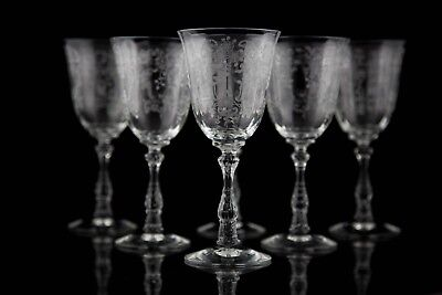 Fostoria Meadow Rose Crystal Water Goblet, Set of (6)