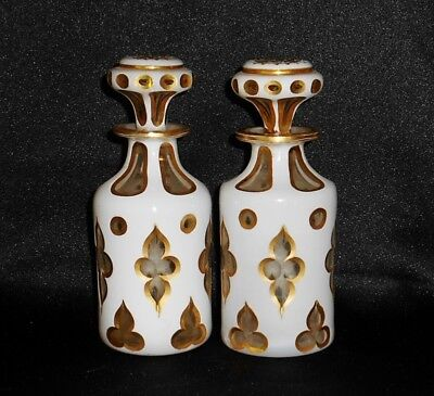 Pair Vintage White Overlay Cut to Clear Glass Scent Perfume Bottles with Gold