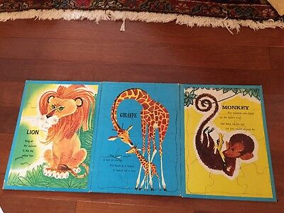 Vintage Lion Giraffe And Monkey Puzzle Puzzles