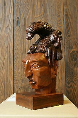 Vintage J. Pinal Mexican Wood Carving Maya Head Indian Art Figure Statue