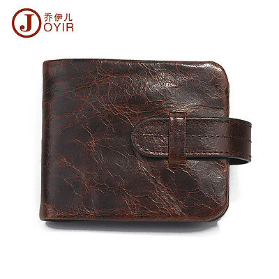 Men Oil Wax Leather Vintage Style Snap Dollar Wallet With Coin Pocket