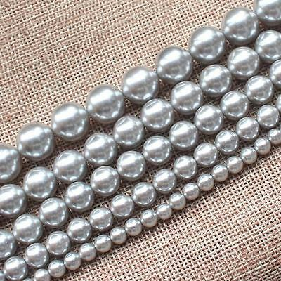 "8-16mm Beautiful Silver Gray Shell Pearl Round 6-16mm Loose Beads 15"" AAA"