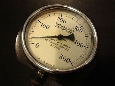 Industrial art steampunk vintage 100 mm  capillary temperature thermometer gauge