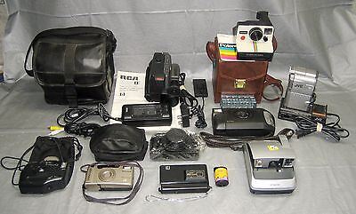 Lot of 9 Vintage Cameras & Camcorders + Accessories - Polaroid, RCA, JVC, Canon