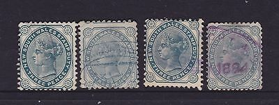 "NSW 1880-90 3d Blue QV ""STAMP DUTY"" SHADES X 4 USED LOT  (DF5)"