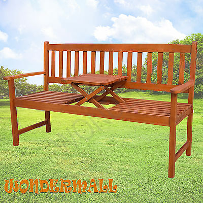 Timber Garden Park Bench Seat Pop-up Table Wooden Outdoor Chair Furniture