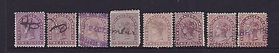 "NSW 1880-90 2d Brown QV ""STAMP DUTY"" SHADES X 8 USED LOT  (DF5)"