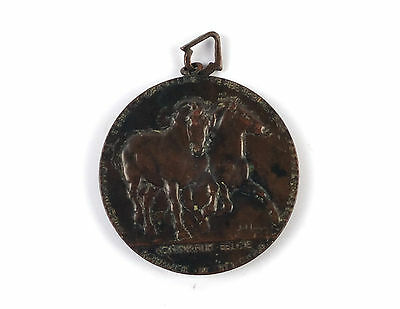 "Belgian bronze medal ""BRABANT 1902"" Galloping Draft Horses by Jul Lagae"