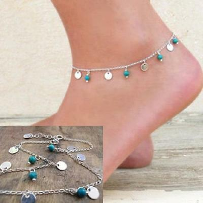 turquoise disk Chain Anklet Ankle Bracelet Barefoot Sandal Beach Foot Jewelry