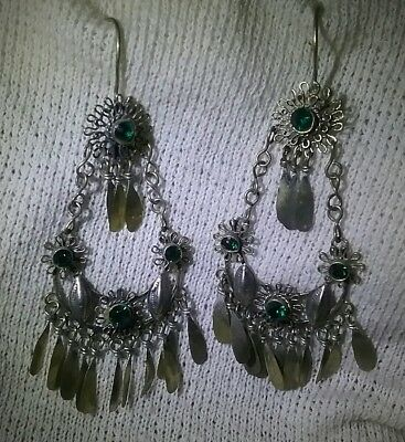 India Afghan gypsy earrings. Silver and green