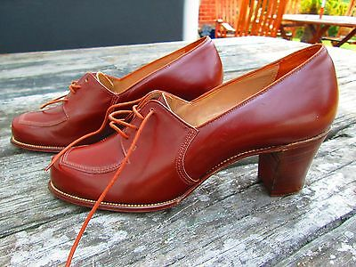 "Original True Vtg 1940's Unworn Brown Leather Shoe ""Selby"" Sz 50B"