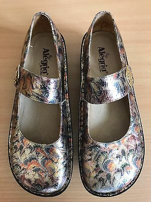 """ALEGRIA by PG lite Gold  Leather  Mary Jane Clogs Shoes 'PAL~510"""" Size 42 EUC"""