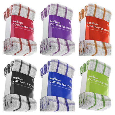 100% Cotton Terry Kitchen Tea Towels Dish Cloths 5, 10, 15, 20 & 30 Pack