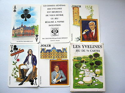 Grimaud Jeu Les Yvelines Very Rare Wide Vintage Playing Cards 52+2J+H+Info 1977