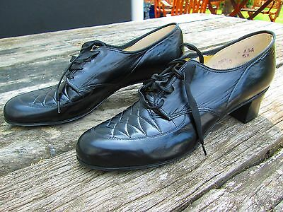 Original True Vtg 1940's Black Leather Unworn Shoes American Sz 7 AAA