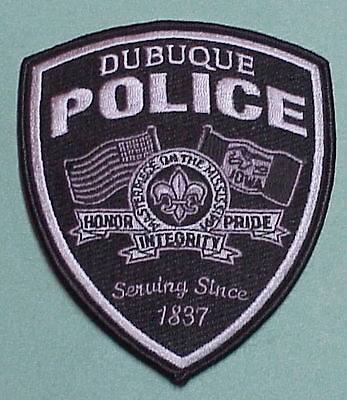 Dubuque  Iowa  Ia  Serving Since 1837  Subdued  Police Patch    Free Shipping!!!