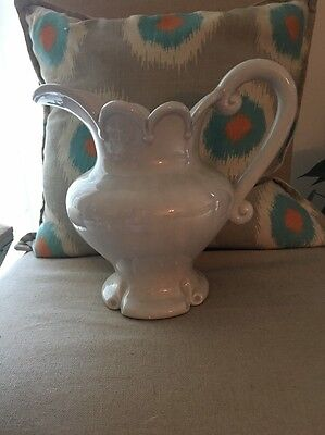 Vintage Ceramic Fancy Water Pitcher Great Design By Atlantic Mold White Pearl