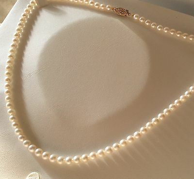 Natural Japanese Akoya Cultured Pearl Necklace - 9Ct Gold Clasp