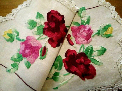Beautiful Vintage Centrepiece - Raised hand embroidered Roses and buds.