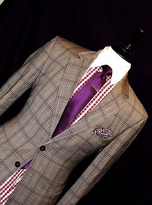 Mens Paul Smith Mixed Grey/ Brown Prince Of Wales Checked Suit 40R W34 X L34