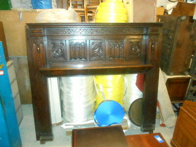 Antique Victorian wood dark oak fire surround carved very large 6ft 7 x 6ft 9