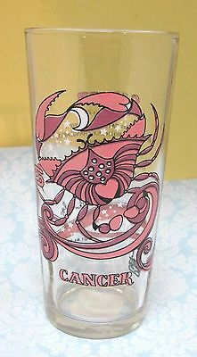 """1976 Arby's Cancer June 22 to July 22 Glass 6 1/4"""" Tall Bright and Clean"""