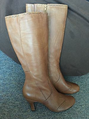 Hush Puppies Brown Tan Leather Knee length boots size UK 6 Eur 39