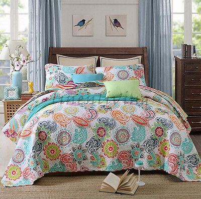 Reversible Quilted Cotton Patchwork Coverlet Bedspread 3pc Set Queen King MP016