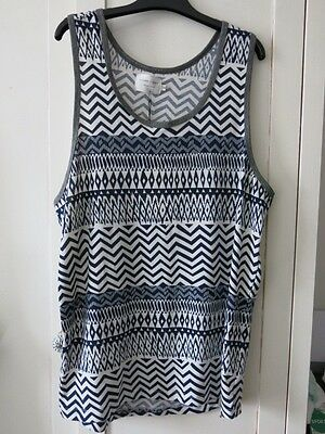 """Men's printed white and navy vest top size M by """"Shades of Grey"""""""