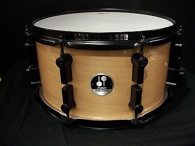 """Sonor drums 7x 13"""" maple shell snare drum Gloss Natural w/ Black hardware New"""