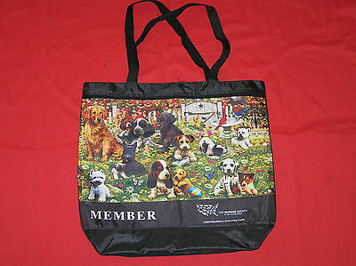 Humane Society Member Tote Bag Beach Travel Shopping Dogs In Garden Bird Black