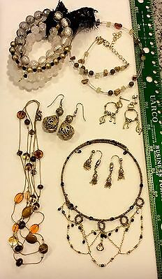 LOT OF 7 Nice Vintage Jewelry Glass Beads Necklaces Bracelets Earrings #E