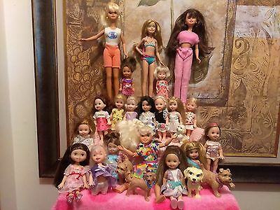 Barbie Li'l Sisters Lot Of 20 Dolls Kelly Skipper And Stacie W/ Pets And Clothes