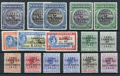 Bahamas 1942 Columbus set + 2s & 3s shades SG162/75a MLH cat £198